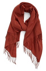 Nordstrom Women's Tissue Weight Wool And Cashmere Scarf Brown Spice