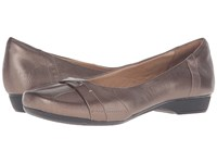 Clarks Blanche Fria Pewter Metallic Leather Women's Flat Shoes