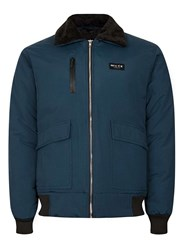 Topman Blue Nicce Navy Faux Shearling Collar Ma2 Bomber Jacket