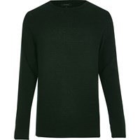 River Island Mens Dark Green Textured Waffle Jumper