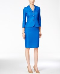Le Suit Three Button Jacquard Skirt Suit Blue