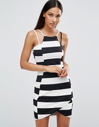 Ax Paris Striped Textured Mini Dress Black