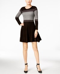 Calvin Klein Colorblocked Cable Knit Sweater Dress Black Charcoal