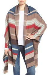 Hinge Women's Stripe Blanket Scarf Brown Combo