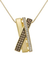 Macy's Diamond X Necklace 1 3 Ct. T.W. In 14K Gold Vermeil And Sterling Silver No Color