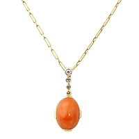 Turner And Leveridge 1920S 9Ct Gold Diamond Coral Pendant Necklace Yellow