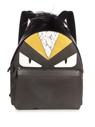 Fendi Bag Bugs Fur Trimmed And Nylon Backpack Grey Multi