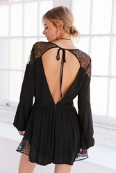 Kimchi And Blue Lyle Gothic Lace Tie Back Romper Black