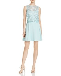 Aidan Mattox Lace Popover Fit And Flare Dress Mint