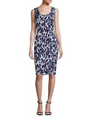 St. John Blue Jasmine Floral Dress Navy Multi