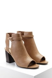 Forever 21 Faux Leather Cutout Booties