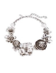Oscar De La Renta Silvertone Statement Flower Necklace