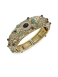 Heidi Daus To Top It Off Swarovski Crystal And Multicolored Rhinestone Bangle Bracelet Gold