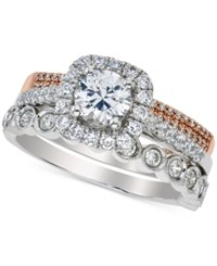 Macy's Diamond Halo Bridal Set 1 1 2 Ct. T.W. In 14K White And Rose Gold Two Tone