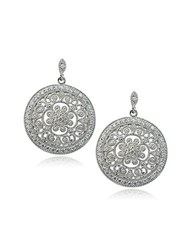 Lord And Taylor Sterling Silver Cubic Zirconia Filigree Earrings