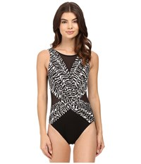 Miraclesuit Between The Pleats Palma One Piece Black White Women's Swimsuits One Piece