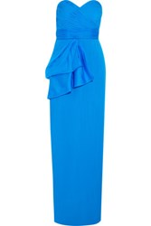 Mikael Aghal Strapless Pleated Silk Crepe Gown Light Blue