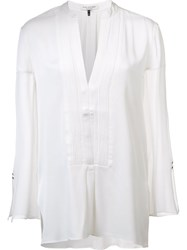 Halston Heritage Pleated Bib Blouse White