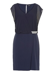 Vera Mont Drop Waisted Dress With Chiffon Bodice Indigo