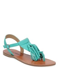 Lucky Brand Anneke Leather Flat Sandals Green