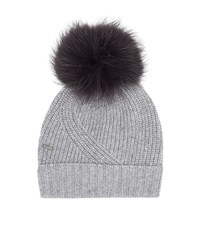 Woolrich Ribbed Fur Pom Pom Beanie Female Grey
