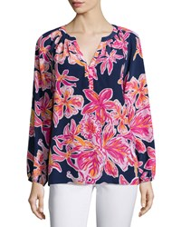 Lilly Pulitzer Elsie Floral Print Blouse Sunny Print