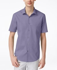 Alfani Red Men's Texture Short Sleeve Shirt Only At Macy's Violet Dus