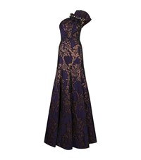 Andrew Gn One Shoulder Brocade Gown Female Purple