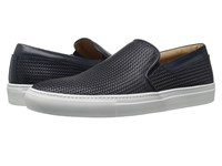 Aquatalia By Marvin K Anderson Navy Woven Full Grain Men's Slip On Shoes Black