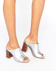 Asos Tania Leather Mules Silver Metallic