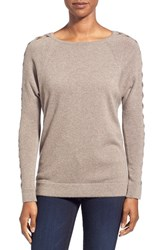 Women's Kinross Cashmere Braided Dolman Sleeve Sweater Doeskin