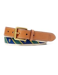 Polo Ralph Lauren Tie Overlay Webbed Belt Brown Navy Stripe