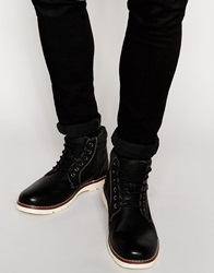 River Island Faux Leather Lace Up Boot Black