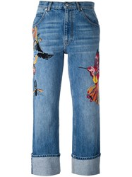 Alexander Mcqueen Embroidered Boyfriend Jeans Blue