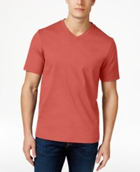 Club Room Men's Cotton V Neck T Shirt Only At Macy's Deepsea Coral