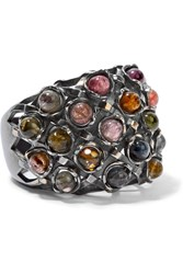 Bottega Veneta Oxidized Sterling Silver Tourmaline Ring