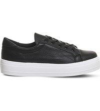Office Diva Flatform Lace Up Trainers Black Tumbled White
