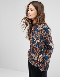 Gestuz Printed Blouse With Detachable Cuff Multi