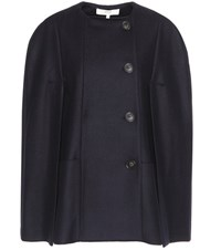 Vanessa Bruno Wool Blend Twill Cape Jacket Blue