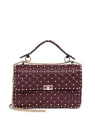 Valentino Rockstud Large Quilted Leather And Chain Top Handle Bag Wine