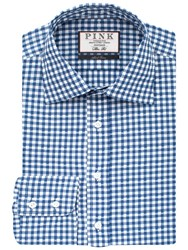 Thomas Pink Fleming Check With Floral Detail Slim Fit Shirt White Blue