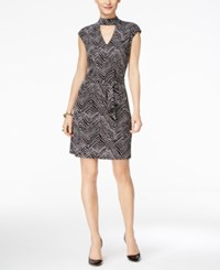 Inc International Concepts Petite Printed Mock Neck Dress Only At Macy's Deep Black