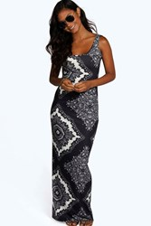 Boohoo Mono Paisley Scoop Neck Maxi Dress Multi