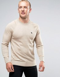Abercrombie And Fitch Crew Jumper Pop Icon Fine Knit In Beige Light Grey