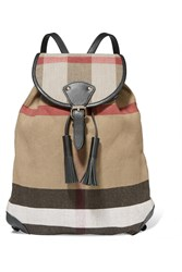 Burberry London London Leather Trimmed Checked Jute And Cotton Blend Canvas Backpack Beige