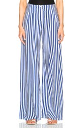 Raquel Allegra Palazzo Pants In Stripes Blue