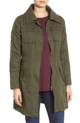 Steve Madden Women's Double Collar Army Jacket Olive