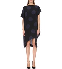 Anglomania Palm Polka Dot Print Crepe Dress Blue Black