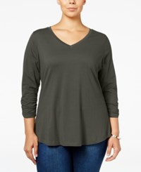 Styleandco. Style Co. Plus Size V Neck Ruched Sleeve Top Only At Macy's Bastille Grey