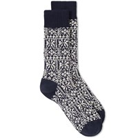 Oliver Spencer Fair Isle Sock Blue